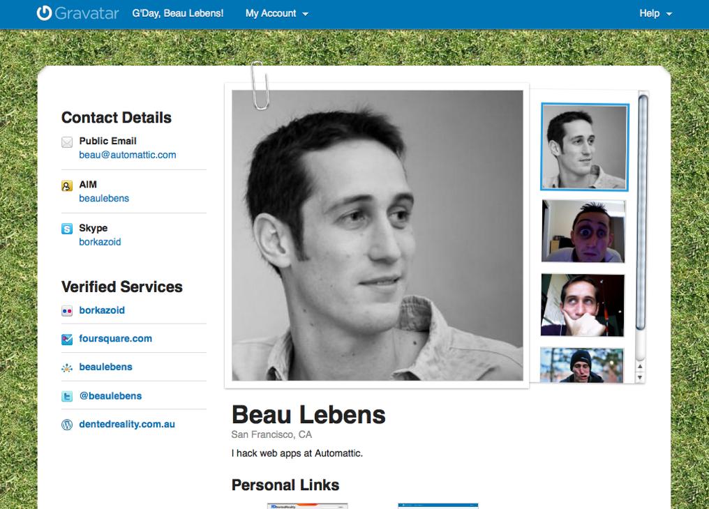 public profiles for everyone gravatar blog